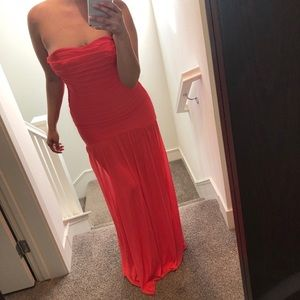 Beautiful coral gown worn to a wedding